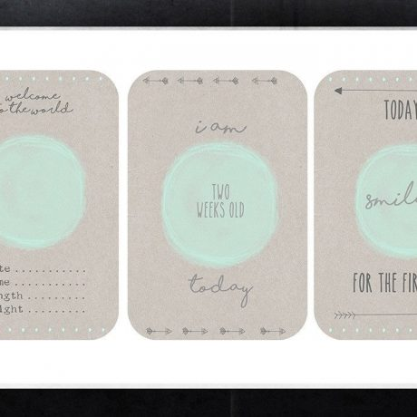 Forever3 Minty Pop Baby Milestone Cards